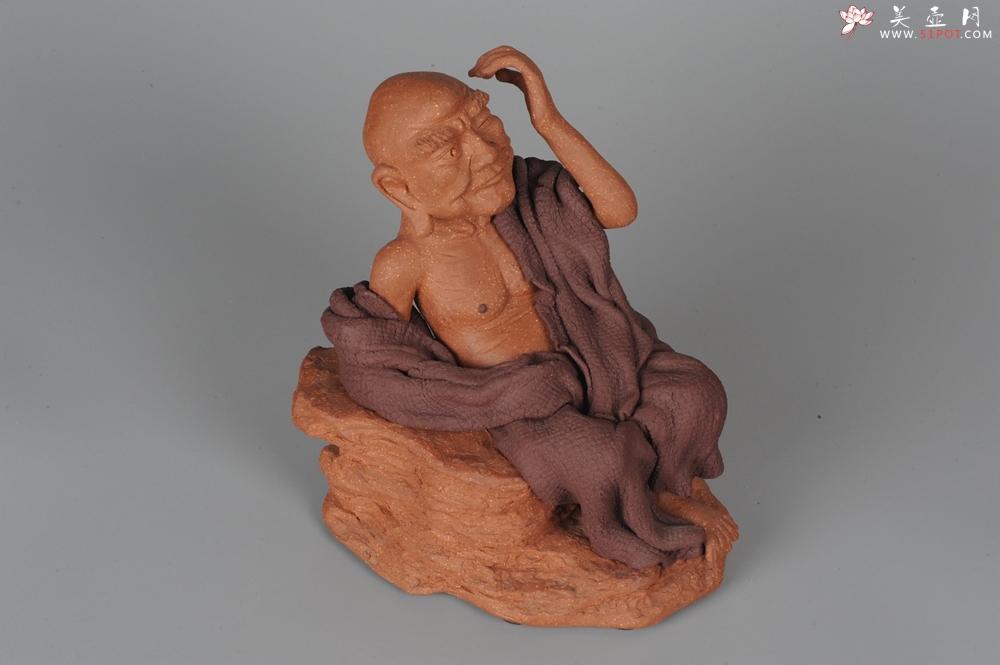 紫砂壶图片:不可多得的用心之作 写意全手工修耳罗汉 精品雕塑 - 全手工紫砂壶网