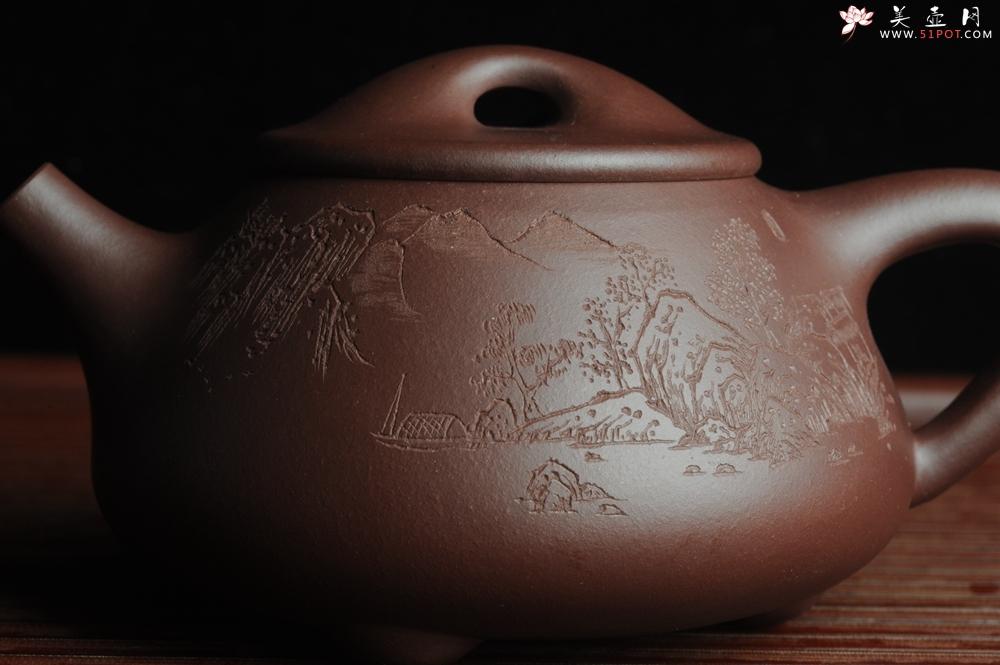 紫砂壶图片:优质紫茄泥全手工山水满瓢 雨过山色清 - 全手工紫砂壶网