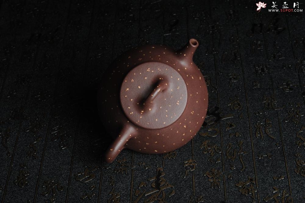 紫砂壶图片:全手工铺砂平盖小石瓢 泥料优秀 实物更漂亮 - 全手工紫砂壶网