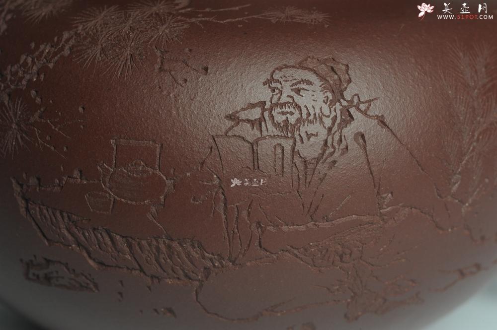 紫砂壶图片:强强联合 实力派杨老师全手工大亨莲子 方健老师即兴装饰 一甄清气半静吟 古韵悠悠 气势非凡 深得老味 - 全手工紫砂壶网