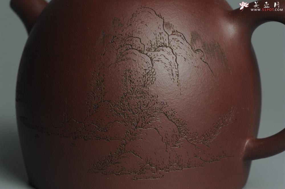 紫砂壶图片:油润紫泥 全手工秦权壶 清茗堂助工文气装山水 - 全手工紫砂壶网