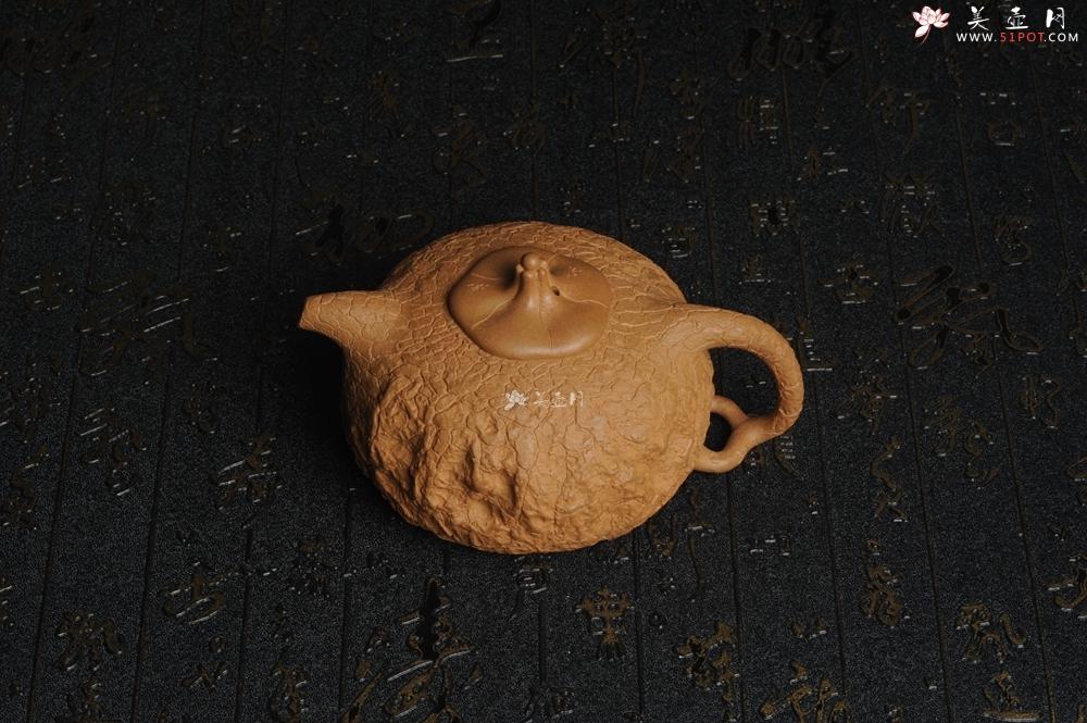 紫砂壶图片:美壶特惠 进步明显优质黄金段全手工龚春 供春 异型盖 难度大 肌理丰富 - 全手工紫砂壶网