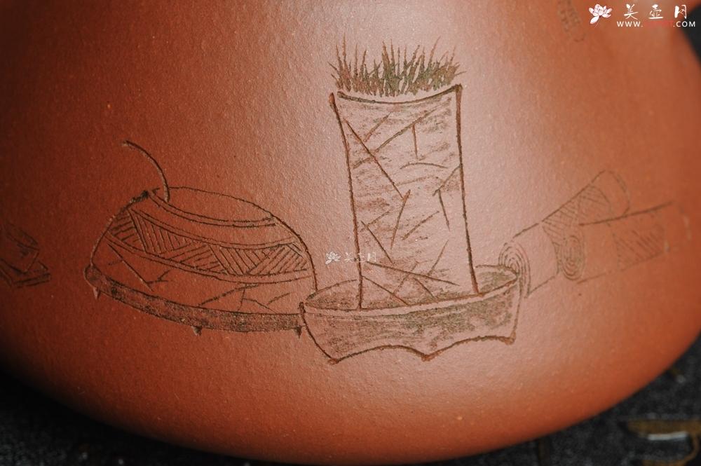 紫砂壶图片:油润底曹青 全手工精品子冶石瓢 骨肉匀挺 清茗堂助工文气装饰菖蒲清供图 文人风骨尽显 - 全手工紫砂壶网
