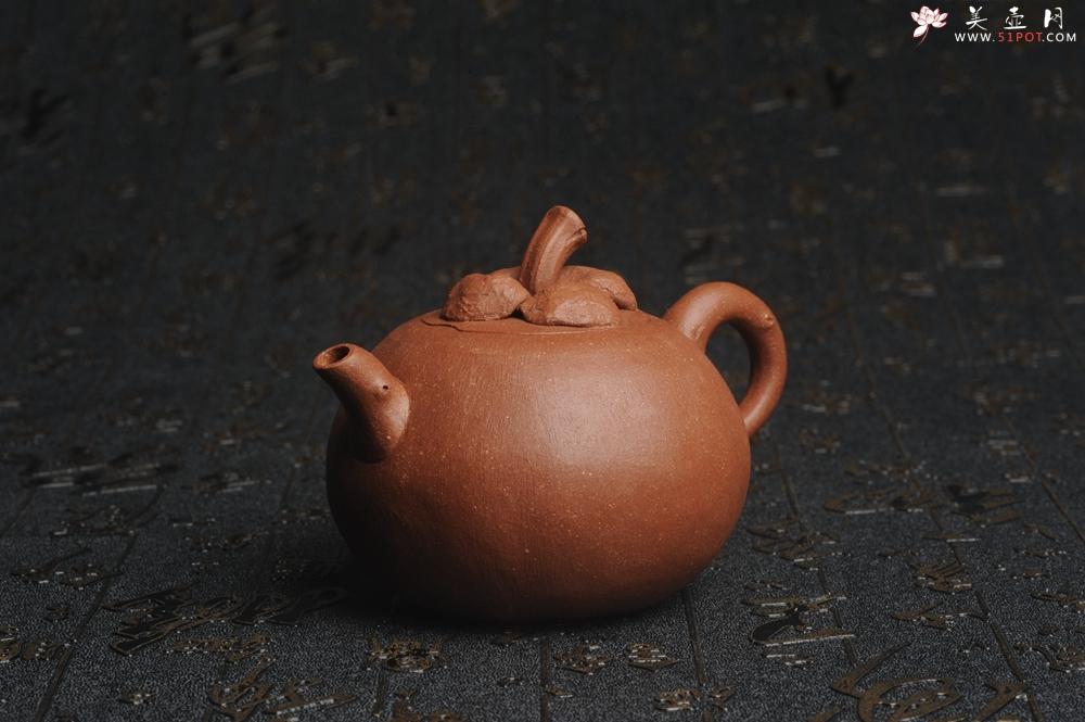 紫砂壶图片:美壶特惠 精致卡盖全手工油润降坡泥仿生小花货 山竹 - 全手工紫砂壶网