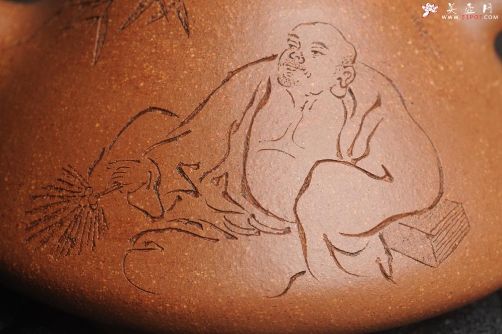 紫砂壶图片:油润五彩段泥 全手工薄胎精品子冶石瓢 难度大 骨肉匀挺 文气装饰高士乘凉图 无为 - 全手工紫砂壶网