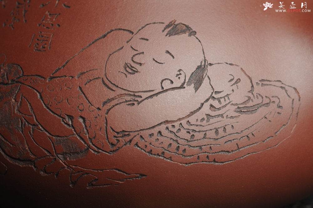 紫砂壶图片:油润紫泥 全手工大满瓢 石瓢 文气装饰小息图 紫瓯蕴玉烹雀舌 砂罂含露泛春华 - 全手工紫砂壶网