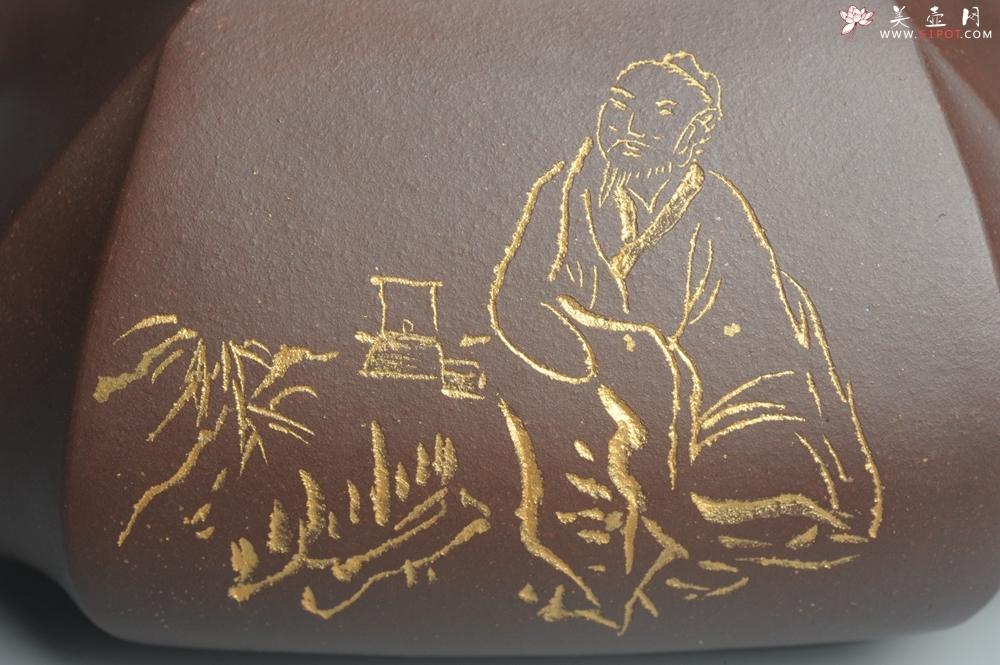 紫砂壶图片:美壶年底特惠 大气端庄 线条流畅 精致全手工抽角石瓢 - 全手工紫砂壶网