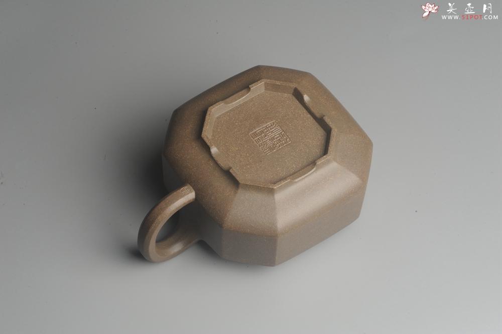 紫砂壶图片:实力派张海艳全手工蟹壳老青段泥精工八方侧角壶 气势磅礴 - 全手工紫砂壶网