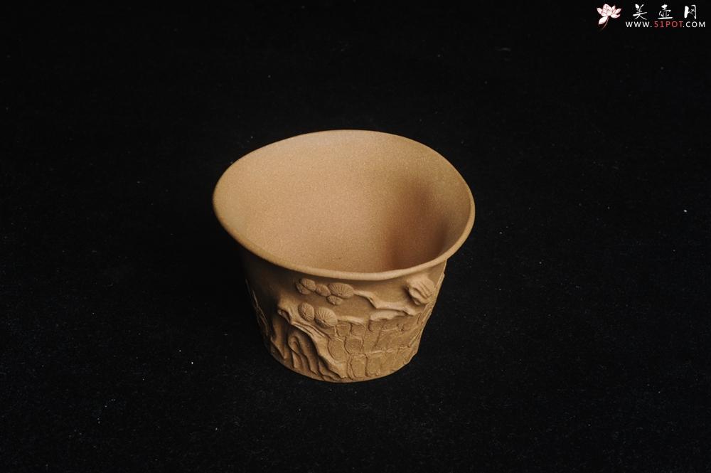 紫砂壶图片:美杯特惠 精致全手工松桩杯 - 全手工紫砂壶网