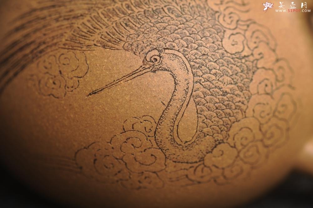 紫砂壶图片:油润老黄段泥(此泥料属于家藏老料!油润无比,识者自知!)全手工小品西施 装饰云鹤特文气 - 全手工紫砂壶网