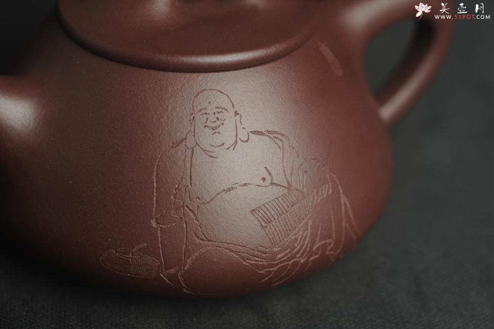 紫砂壶图片:油润底曹青 全手工景舟小石瓢 装饰人物 特文气 - 全手工紫砂壶网
