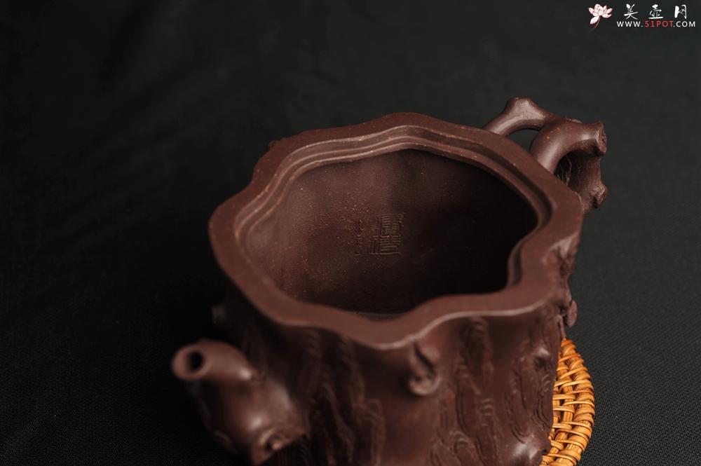 紫砂壶图片:潜力股唐老师 全手工精致老紫泥松桩壶 肌理丰富生动 期待与您结缘 - 全手工紫砂壶网
