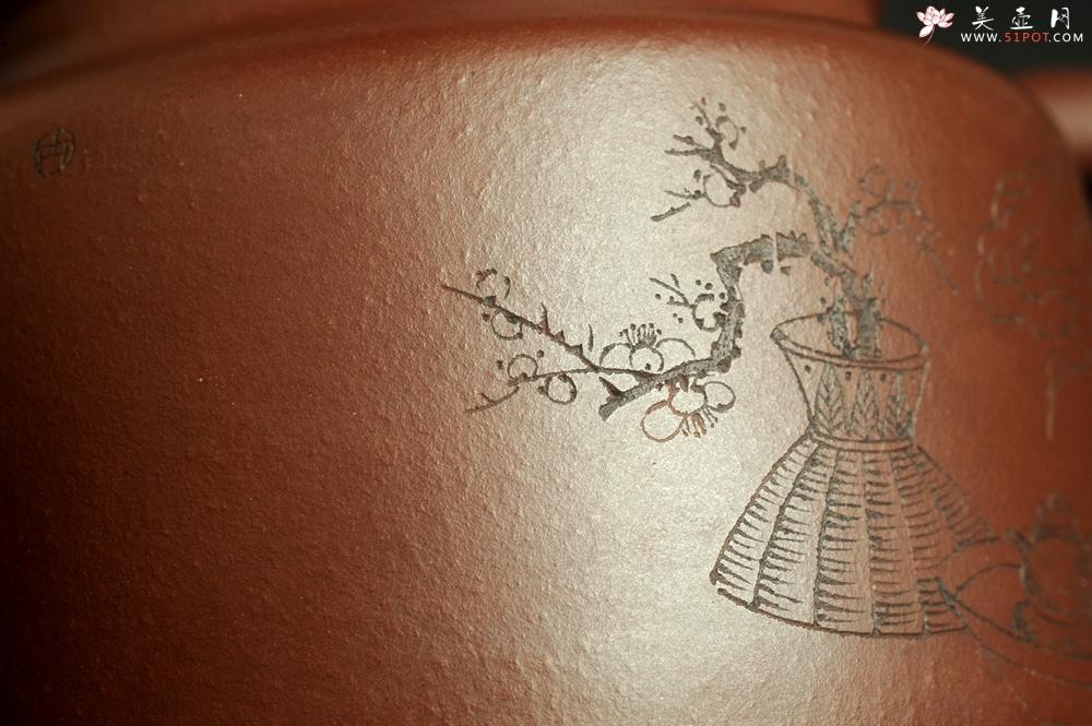 紫砂壶图片:油润黄龙山4号深井红皮龙 全手工德中壶 做工特好 装饰清供图 特文气 - 全手工紫砂壶网