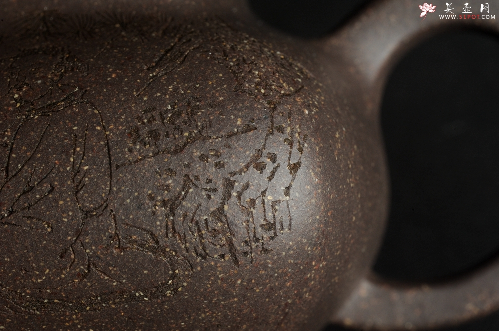 紫砂壶图片:实力派张海艳全手工特好老青灰段泥传炉壶 装饰人物 一杯清茗可沁诗脾  特文气 - 全手工紫砂壶网