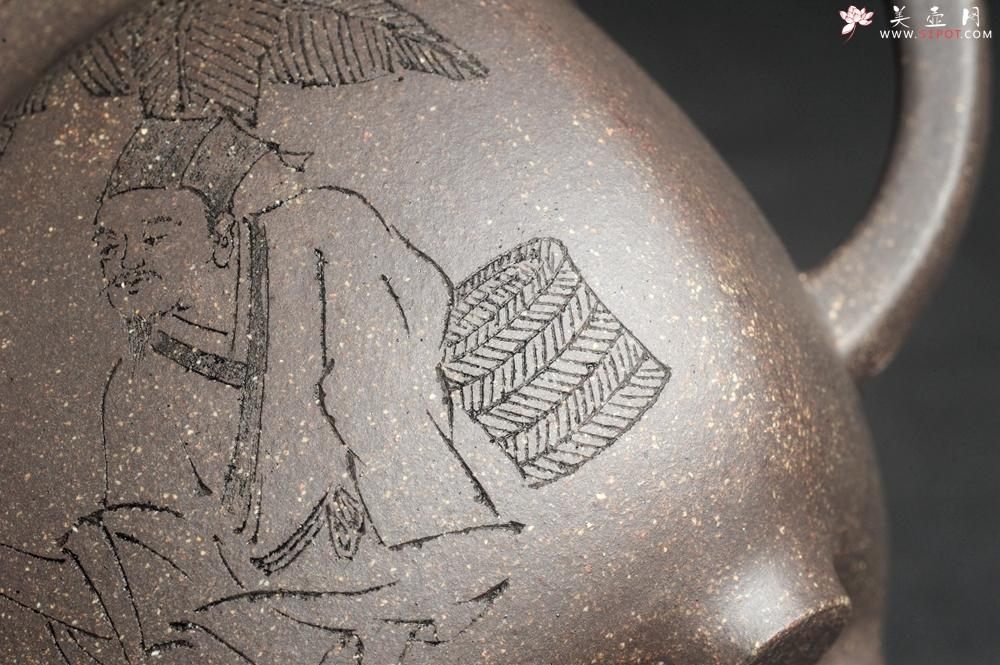 紫砂壶图片:实力派张海艳 全手工油润老青灰段泥重器鸣远四方 气势磅礴 用心之作 装饰人物特文气 - 全手工紫砂壶网