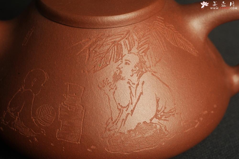 紫砂壶图片:特好底曹青 全手工品茗悟道小子冶石瓢 装饰特文气 期待与亲结缘 - 全手工紫砂壶网