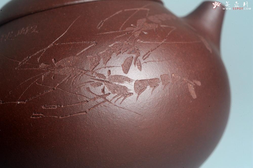 紫砂壶图片:油润底曹青 全手工文旦茶壶 上善若水 虾趣图 特文气 期待与亲结缘 - 全手工紫砂壶网