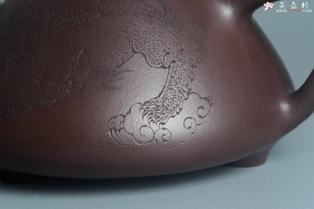 紫砂壶图片:特油润底曹青 全手工子冶石瓢 助工装饰菩萨坐骑瑞兽 - 全手工紫砂壶网