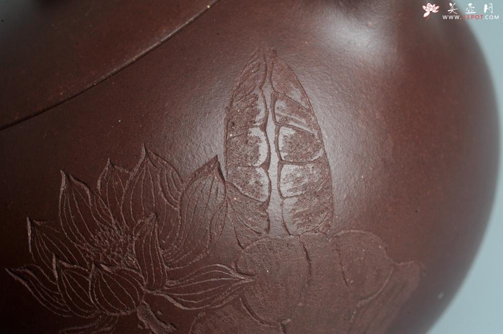 紫砂壶图片:油润底曹青 全手工西施茶壶 玉洁冰清 接天莲叶无穷碧 映日荷花别样红 - 全手工紫砂壶网