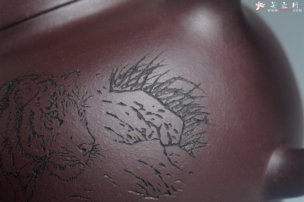 紫砂壶图片:油润黄龙山底槽青 全手工熹微壶 文气装饰 虎啸山林 期待与您结缘 - 全手工紫砂壶网