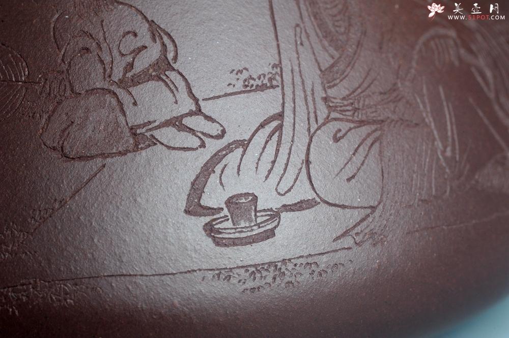 紫砂壶图片:实力派助工周斌 优质底槽青全手工精工 子冶石瓢壶 张听钢装饰人物 平生衣食随缘好 过得清闲便是仙 - 全手工紫砂壶网