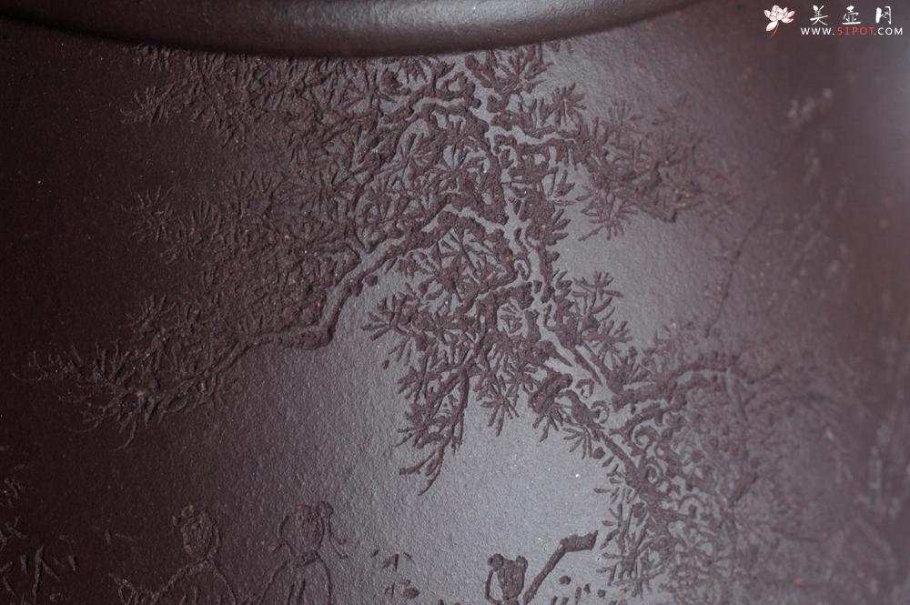 紫砂壶图片:实力派助工周斌 优质底槽青全手工精工 满瓢壶 张听钢装饰山水  知足是人生一乐 无为得天地自然 - 全手工紫砂壶网