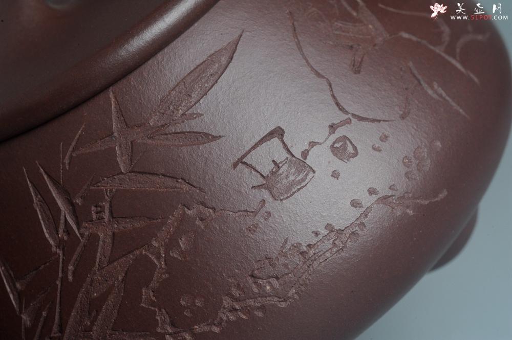 紫砂壶图片:实力派助工周斌 优质底槽青全手工精工满瓢壶 陶兴双刀装饰 特文气 玉壶写新竹 烹泉试乳茶 - 全手工紫砂壶网