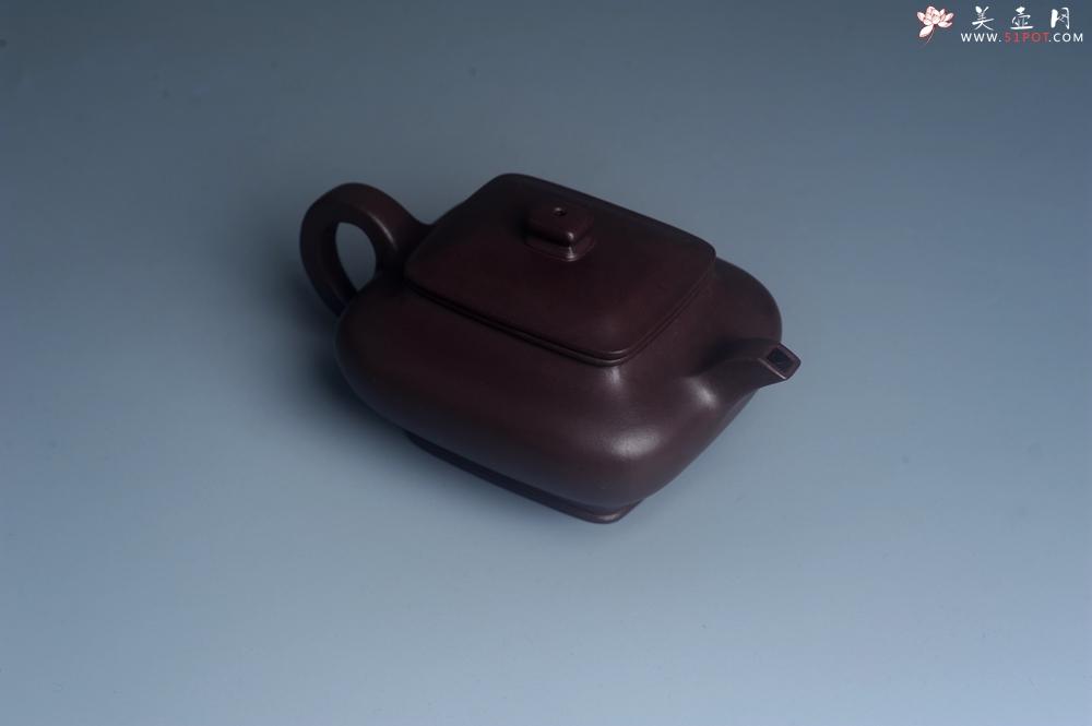 紫砂壶图片:油润老紫泥全手工精工小四方虚扁壶 - 全手工紫砂壶网