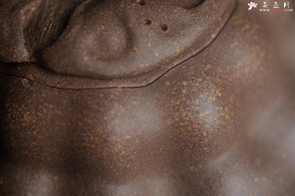 紫砂壶图片:美壶特惠 精致卡盖全手工老青段仿生小花货柿子壶 茶人醉爱 - 全手工紫砂壶网