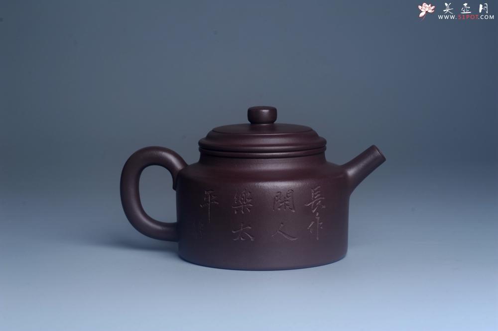 紫砂壶图片:油润底曹青 全手工德中茶壶 装饰人物特文气 - 全手工紫砂壶网
