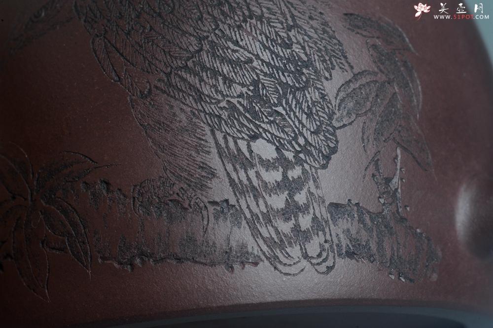紫砂壶图片:实力派助工文砂苑堂主周斌 优质底槽青全手工精工秦权壶 鹰击长空 志在千里 - 全手工紫砂壶网